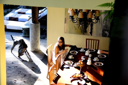 spoiled like crazy - breakfast was served by our pool... choosing or mix-matching entries from 5 breakfast offerings