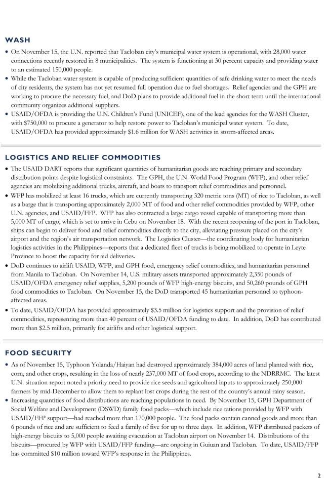 Typhoon Yolanda/Haiyan Fact Sheet #5 - November 15, 2013