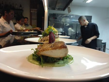 Chef Miguel at work - fueled by jazzy music