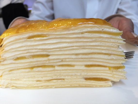 A slice of Mango Mille Crepe
