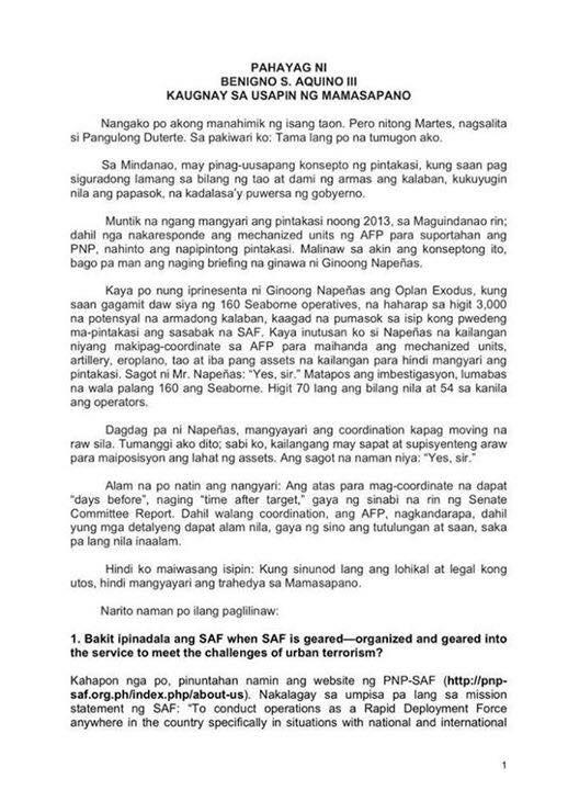 mamasapano incident reaction paper tagalog